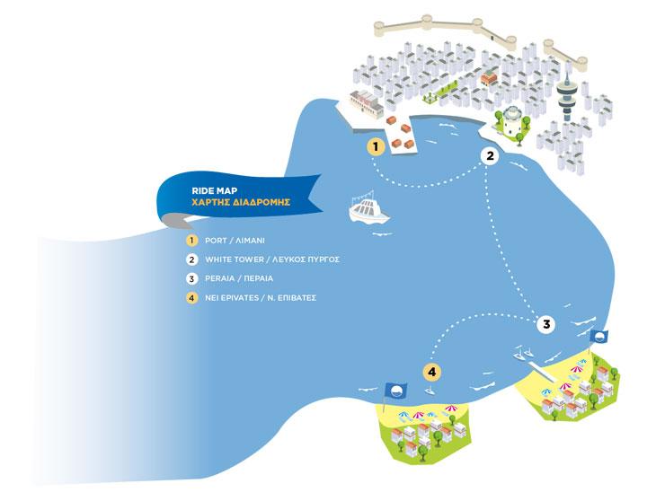 Χάρτης για τα δρομολόγια με το καραβάκι από Θεσσαλονίκη για Περαία