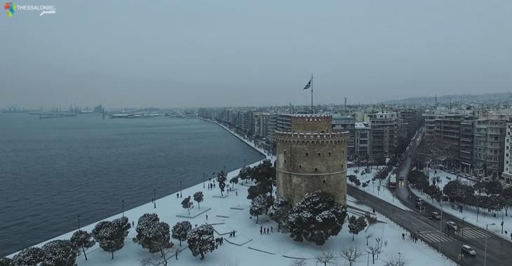 Λευκός Πύργος με χιόνια από ψηλά. Θεσσαλονίκη 2017