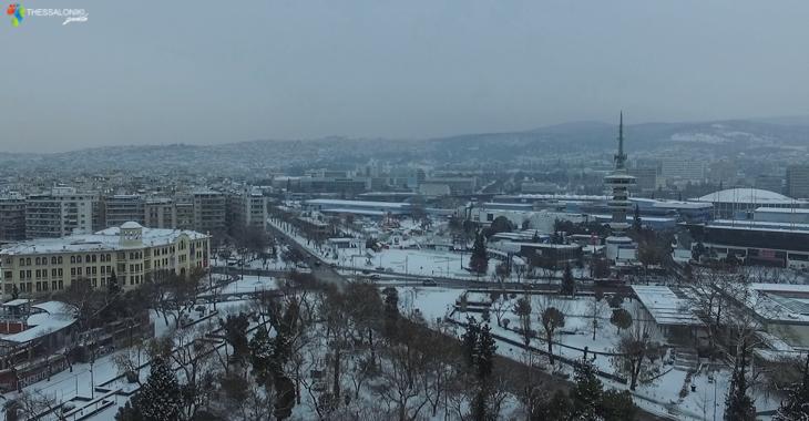 Χιονισμένη Θεσσαλονίκη 2017 από drone